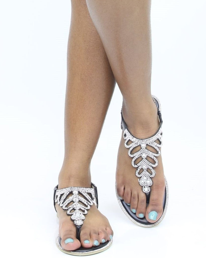 LILLY Leaves Rhinestone Sandals (Available in 2 Colors)