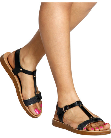 ASHLEY T-Strap Soft Bottom Sandal (Available in 2 Colors)