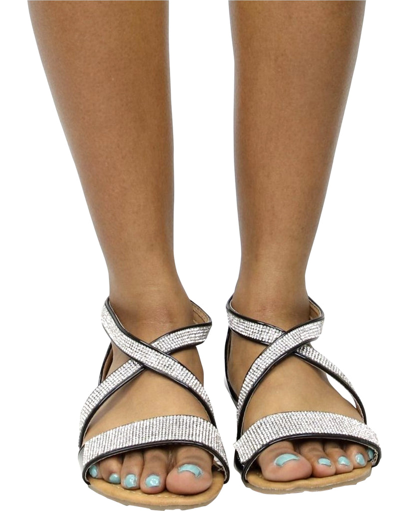 Criss Cross Rhinestone Flat Sandal (Available in 2 Colors)