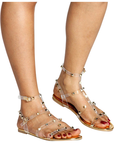 Aurore Studded Clear Gladiator Sandals