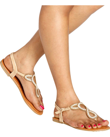 Tied Up Twisted Beads T-Sandals