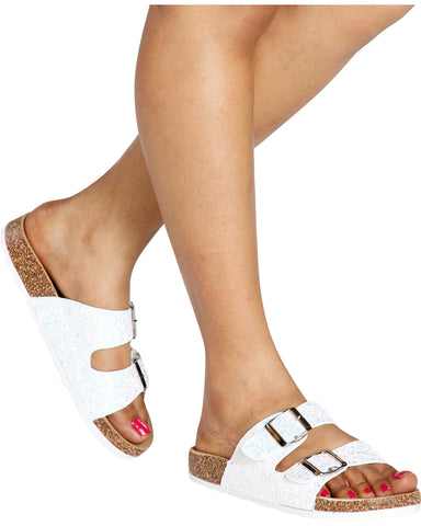 MARS Glitter Gold Buckle Slides - White