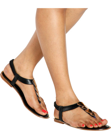 ROBERTA Ornament T-Sandal - Black