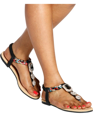 PAMELA Scarf Rhinestone T-Sandals (Available in 2 Colors)