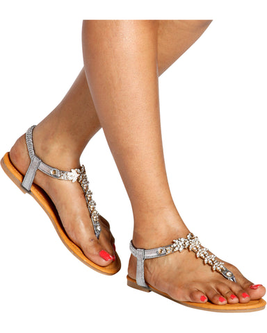 SHABANA Rhinestone T-Sandals (Available in 2 Colors)