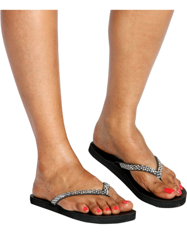 FLASHY Rhinestone Flip Flops - Black