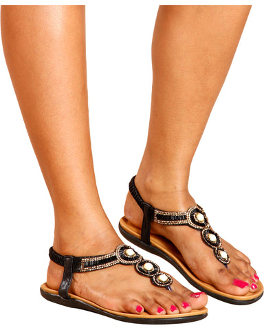 NAOMI Rhinestone Comfort T-Sandal (Available in 2 Colors)
