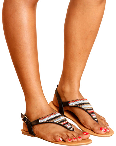 Amy Beaded T-Sandal - Black