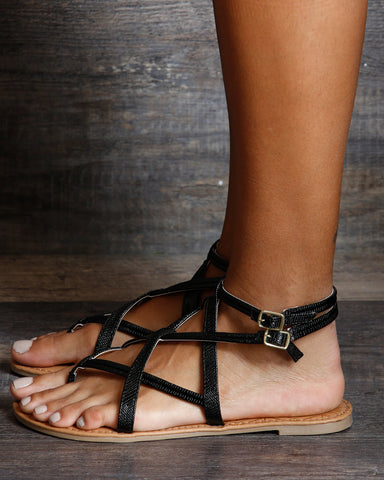 Penny Fabric Gladiator Flat Sandals