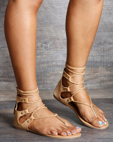 Petra Lace Up Gladiator Flat Sandals
