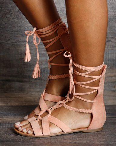 Jenny Lace Up Gladiator Flat Sandals