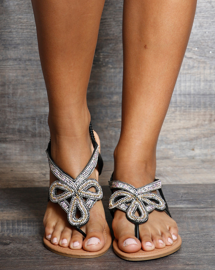 VIM VIXEN Angela Slip On Rhinestone Sandals - Black - ShopVimVixen.com