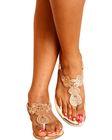 Ally Rhinestone Fashion Sandal - Gold