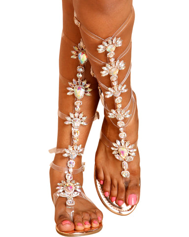 Goddess Jewled Clear Gladiator Sandals