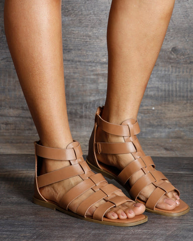 Sienna Gladiator Back Zipper Sandals