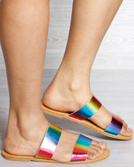 BAMBOO Two Band Slide Sandal - Multi - ShopVimVixen.com