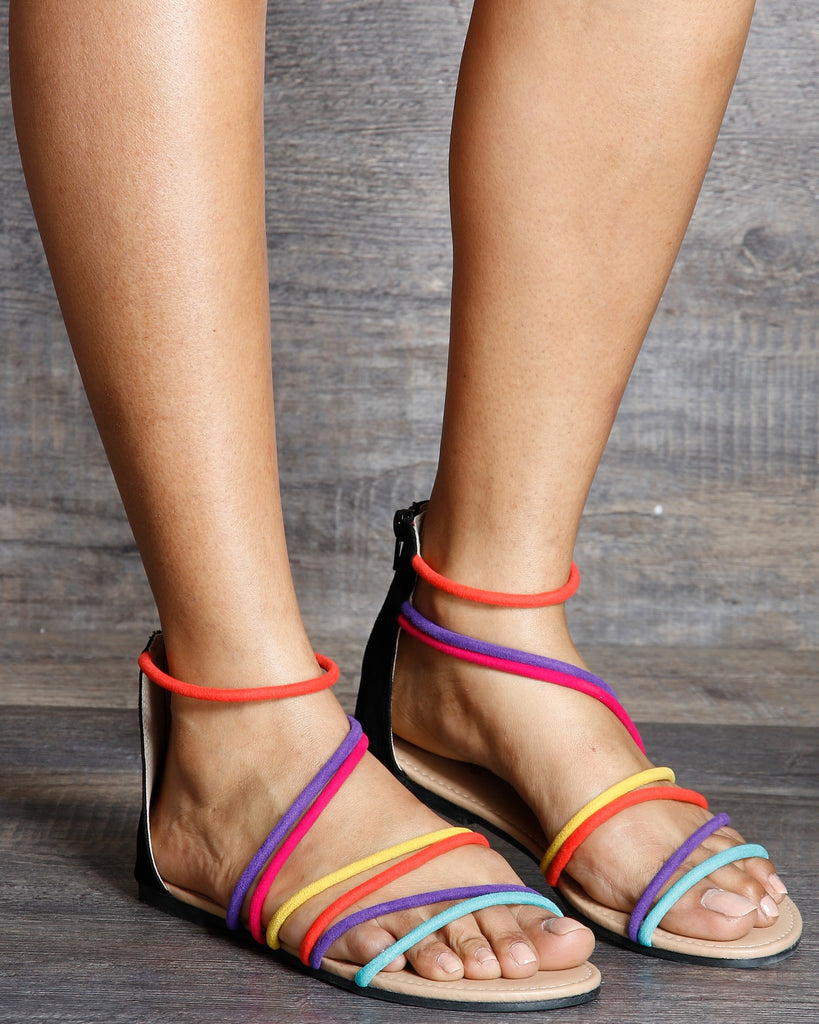Angie Multi Color Strap Caged Sandal