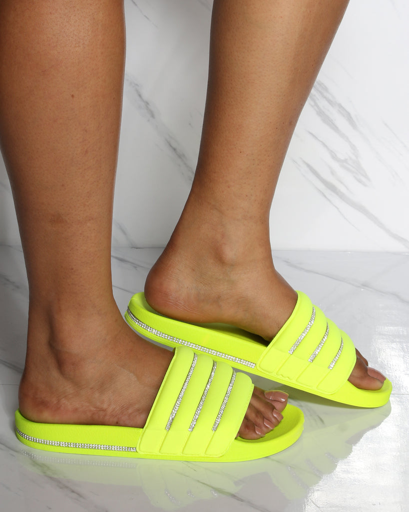 VIM VIXEN Slip On Rhinestone Slide - Neon Yellow - ShopVimVixen.com