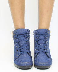 VIM VIXEN Peggy Denim Wedge Sneaker - Denim - ShopVimVixen.com