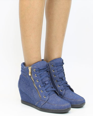Peggy Denim Wedge Sneaker - Denim