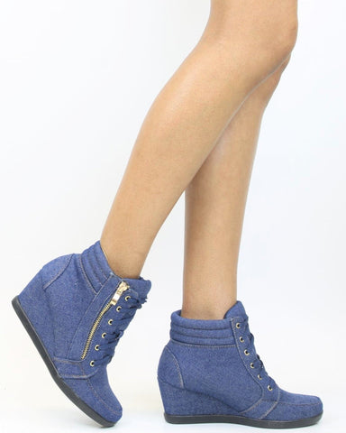 PEGGY Denim Wedge Sneaker