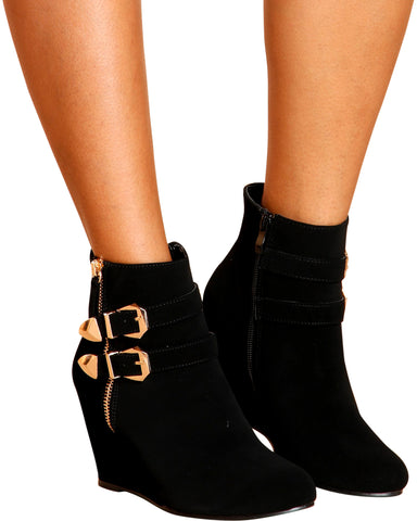 Dane Buckle Zipper Wedge - Black
