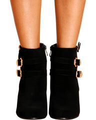 VIM VIXEN Dane Buckle Zipper Wedge - Black - ShopVimVixen.com