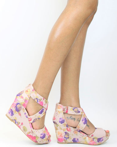 Destra Criss Cross Wedge - Blush