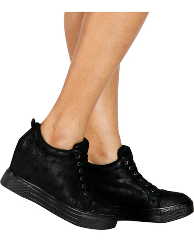 Uptown Girl Wedge Fashion Sneaker - Black