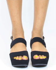 SABRINA Wedge Sandal - Black