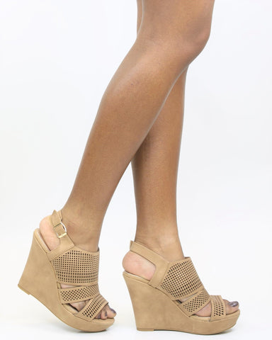 Jessann Perforated Wedge Sandal