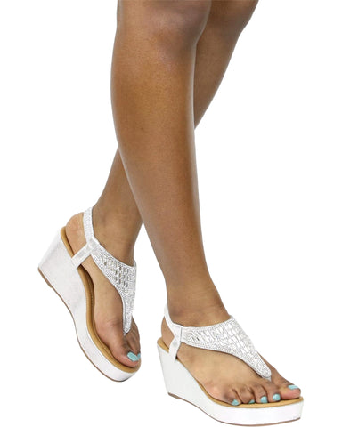 Shona Rhinestone Thong Wedge Sandals