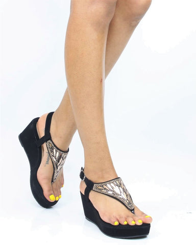 Anika Wedge Sandal - Black