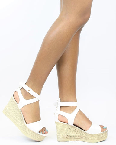 Milada Gladiator Hi-Wedge - White