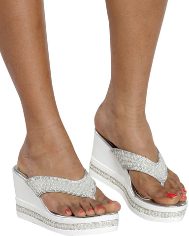 Jemma Pearl Wedge Sandals