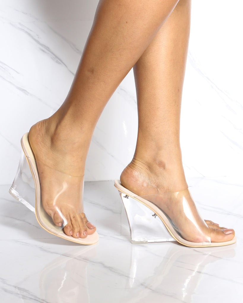 Blair Pvc Mule Wedge - Nude