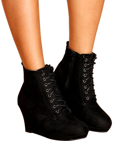 Jenna Lace Up Wedge Booties