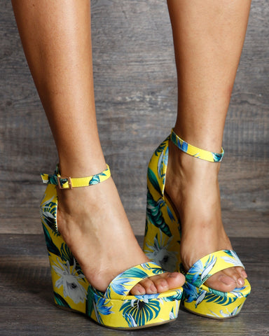 Paola Ankle Strap Flower Print Wedge