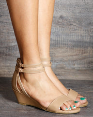 Jenna Ankle Straps Back Zipper Low Wedge