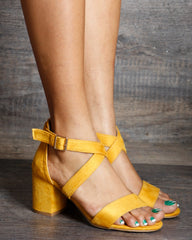 Nadia One Back Criss Cross Low Chunky Heels