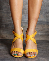VIM VIXEN Nadia One Back Criss Cross Low Chunky Heels - Mustard - ShopVimVixen.com