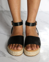 VIM VIXEN Mandy Espadrille Wedge - Black - ShopVimVixen.com