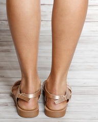 Two Bands Criss Cross Gladiator Sandals
