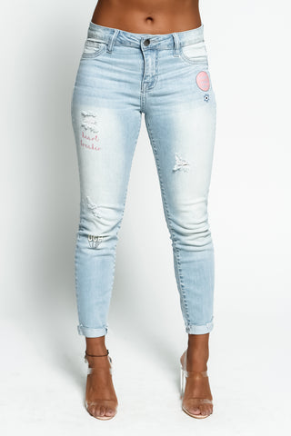 Ripped Verbiage Jeans