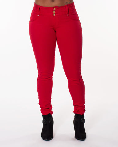 Red Three Button Stretch Jeans