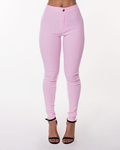 BABY PINK SUPER HIGH WAIST HYPER STRETCH PANTS