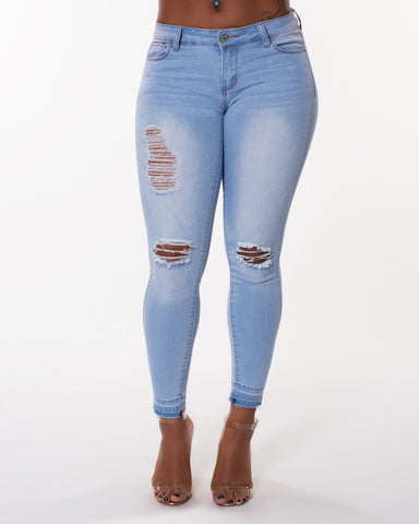 Rips Regular Hem Jeans