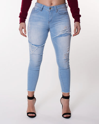 Blast Rips Unhem Bottom Jeans