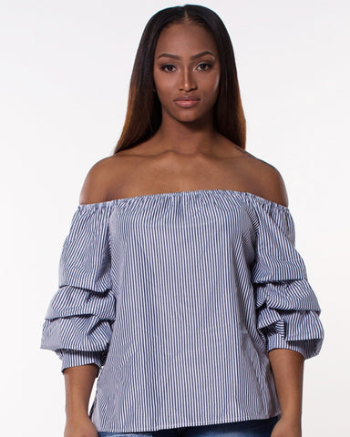 Stripe Off Shoulder Ruffle Top