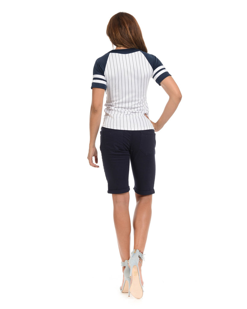 VIM VIXEN New York Baseball Shirts - Navy - ShopVimVixen.com